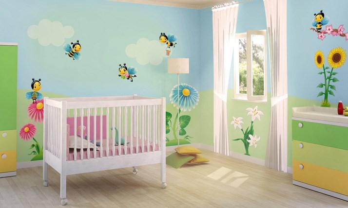 Stickers murali bambini cameretta nel mondo delle api - Stickers cameretta bambino ...